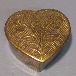 Vintage Brass Trinket Box w/ Etched Flowers